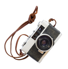 Vintage camera - old film camera isolate on white with clipping path for object, retro technology