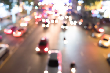 lighting traffic bokeh at night, car light