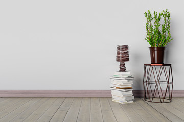 3D rendering Mock up interior with chair, books, lamp and plant.