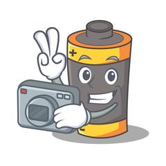 Photographer battery mascot cartoon style