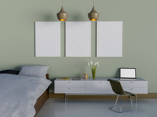 Interior 3D rendering of Bedroom with blank board. Mock up poster.