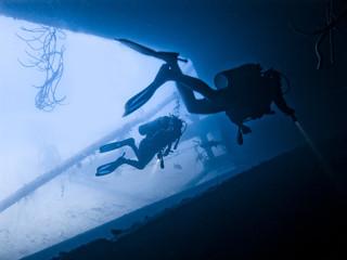 Divers exploring the Hilma Hooker Wreck
