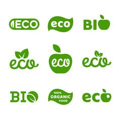 Eco food, organic bio products, eco friendly, vegan icons, ecology