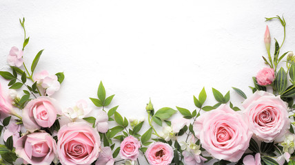 Foto op Aluminium Roses Rose flower with leaves frame