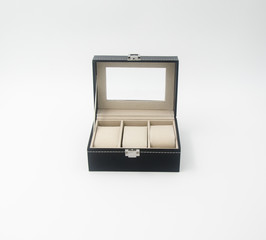 jewelry box or black leather jewelery box on background.