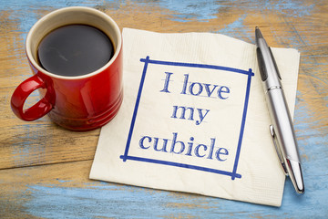 I love my cubicle - note on napkin