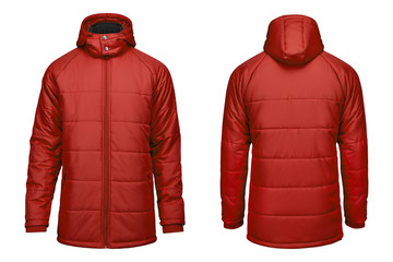 Fashion winter red jacket,  clipping path isolated white background. Wall mural