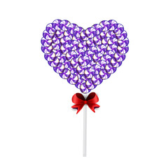 Candy heart on stick with twisted design on white background.