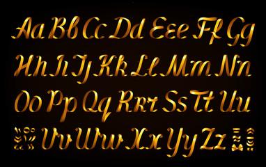 Golden ribbon alphabet on black background.