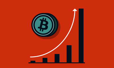 Graph Showing Growth of Bitcoin with Time Cryptocurrency Growth Rise