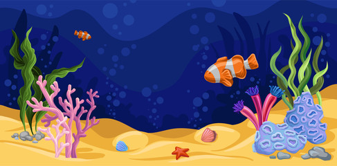 Beautiful underwater scene with seaweed, marine life vector illustration, design element for poster or banner