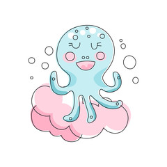 Adorable blue octopus against pink fluffy cloud background. Marine life. Hand drawn style. Linear vector design for getting card, t-shirt print or children book