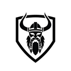 viking head shield vector illustration.