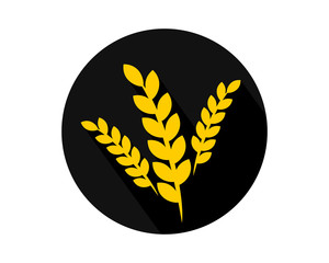black circle paddy wheat icon circle image vector