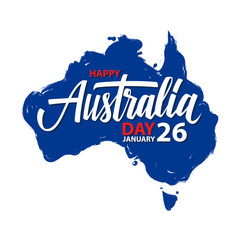 Happy Australia Day, january 26 greeting card with hand lettering and brush stroke map of Australia. Vector Illustration.