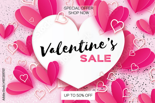 Valentine\'s day sale. banner template. Pink heart in paper cut style ...