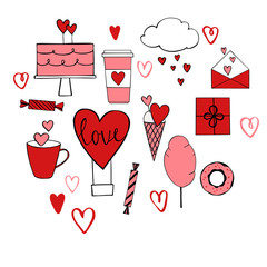 Valentine's Day set.  Vector illustration.