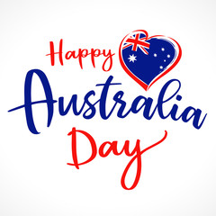 Happy Australia Day lettering and heart emblem. Flag of Australia with heart shape and calligraphy Happy Australia Day on white background. Vector illustration