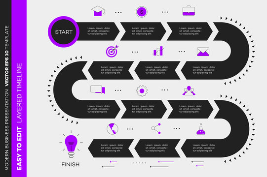 Layered Infographic Timeline. Vector Roadmap, Template For Modern Business Presentation, Annual Reports, Layouts