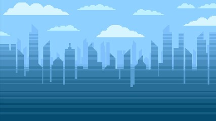 Blue city skyscrapers background, pixel art video game style illustration