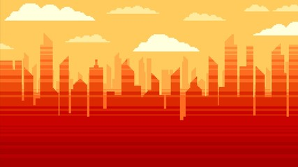 Red city skyscrapers background, pixel art illustration