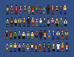 Pixel art men, video game style vector illustration isolated