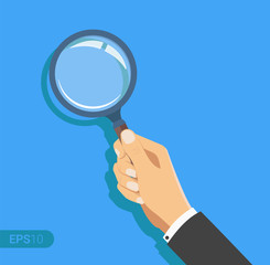 Hand holding a magnifying glass. New vector illustration in flat design on blue background. Detailed