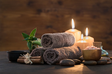 Foto auf AluDibond Spa Beauty spa treatment with candles