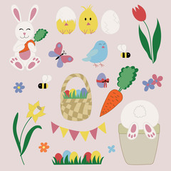 Easter icons set with traditional festive symbols. Such as bunny, basket, flowers, wreath, eggs, chickens, birds, butterfly and other decorative elements in cute and childish hand drawn style.