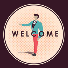 Welcome business man badge vector illustration