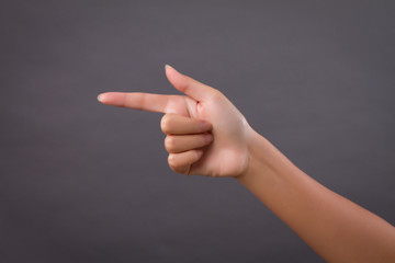 hand showing, pointing up finger