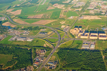 Aerial view of motorway freeway roads junction.