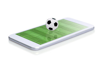 Soccer field with ball on smartphone edge display, isolated