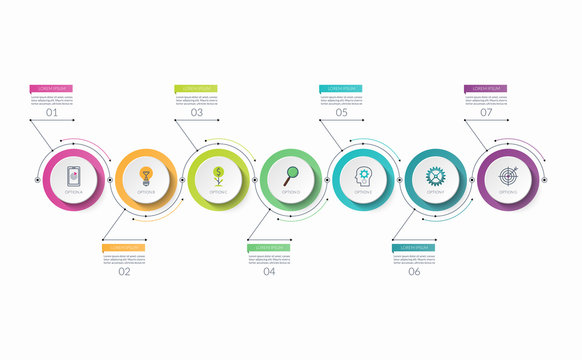 Infographic timeline template with 7 options. Can be used as a chart, diagram, graph for business presentation, annual report, brochure, web design.