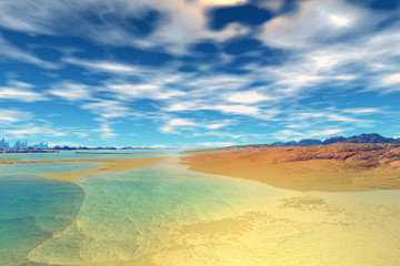 The lake on an alien planet. 3D rendering