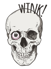Human skull winks with one eye comic art style isolated. Hand drawn line art poster, sticker or patch design vector illustration