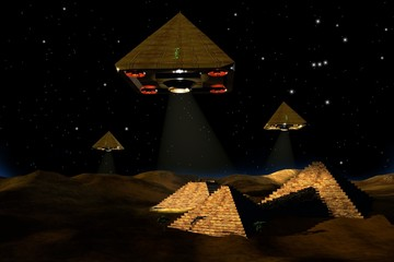 Aliens on space ships are studying the Egyptian pyramids.