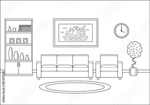 Room Interior. Living Room In Line Art Flat Design. Linear Vector  Illustration. Outline