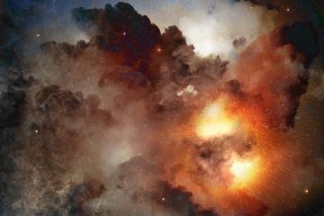 bright light shining in a cosmic nebula