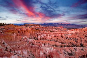 sunset on Bryce Canyon National Park in Utah