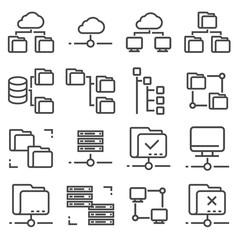 Vector Line Folder Tree Icons set