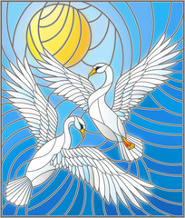 Illustration in stained glass style with a pair of  swans on the background of the daytime sky and clouds