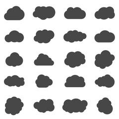 vector black cloud shapes set