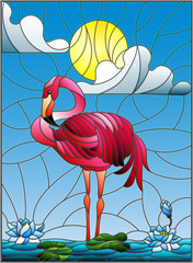 Illustration in stained glass style with Flamingo , Lotus flowers and reeds on a pond in the sun, sky and clouds