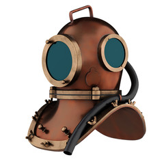 Underwater diving scuba helmet. Old school and vintage style. Perspective view. 3D render Illustration isolated on a white background.