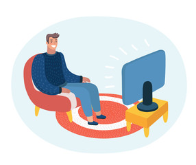 Vector cartoon funny illustration of man sitting on the couch and watching TV