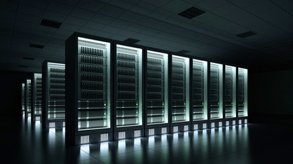 Data center dark with glowing servers 3d rendering