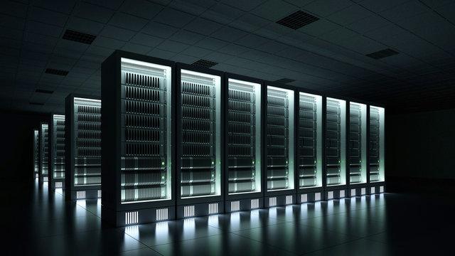Data center dark with glowing servers 3d rendering