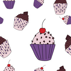 Cupcake seamless pattern in cartoon style