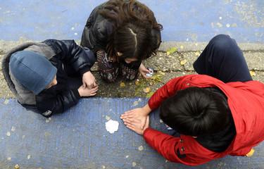 Children hands playing